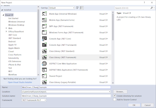 Getting Started with WebDriver in C# Using Visual Studio