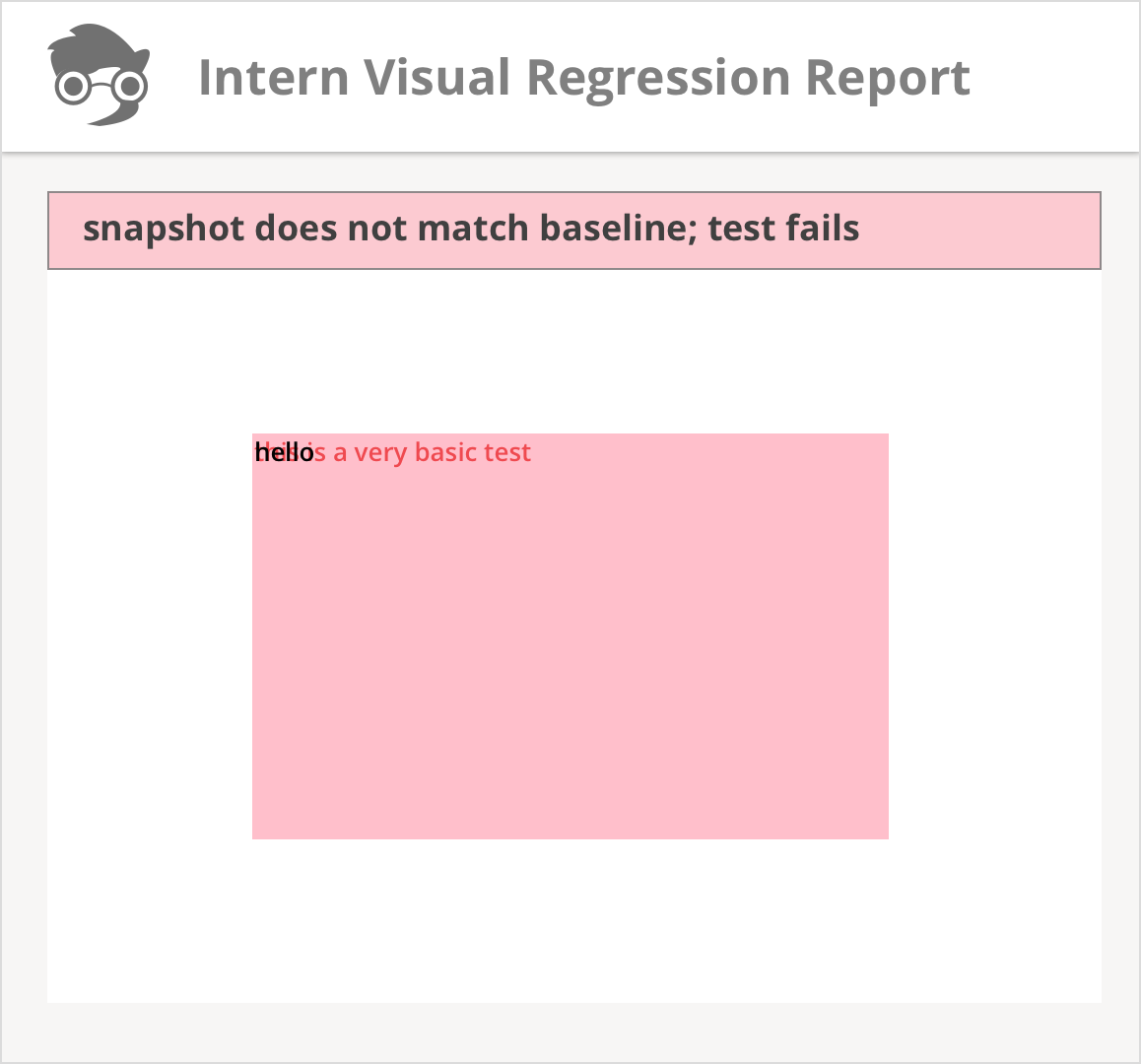 Visual Regression Report; Test Fails