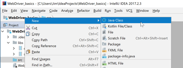 Add new Java file in IntelliJ