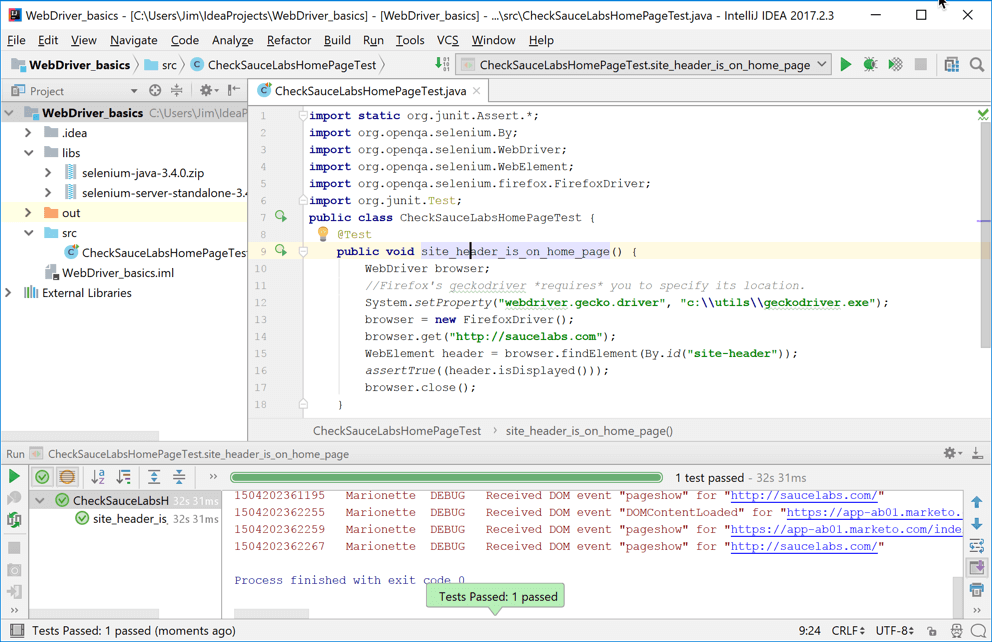 Getting Started with WebDriver in Java Using IntelliJ on