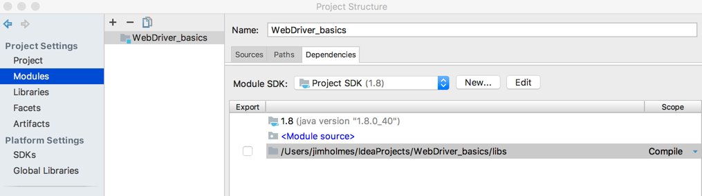 Getting Started with WebDriver in Java Using IntelliJ on OSx